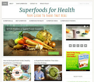 Superfoods   Health Blog Niche Website Business For Sale Automatic Content