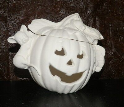 Pumpkin Votive Candle Holder Halloween *  Ceramic Bisque Ready to Paint * Paint - Halloween Crafts Candle Holder
