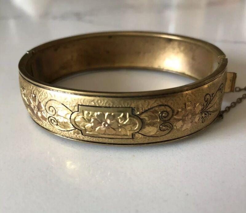 Vintage Victorian Embossed Floral Gold Filled Bangle Bracelet With Black Enamel