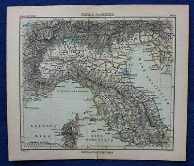 ANCIENT NORTH ITALY, LIGURIA, ETRURIA, original antique map, Justus Perthes 1898