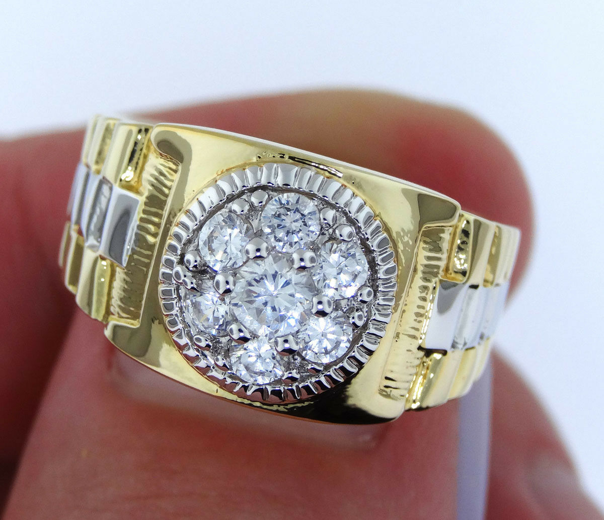 Rx Two Tone 18kt Gold Ep Mens Fashion Ring