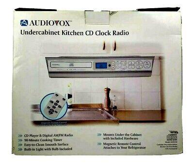 Audiovox Under Cabinet Kitchen CD Player Clock Radio AM/FM 90 min Timer & Remote