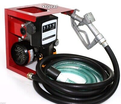 110v Electric Oil Fuel Diesel Gas Transfer Pump Wmeter 12 Hose Manual Nozzle