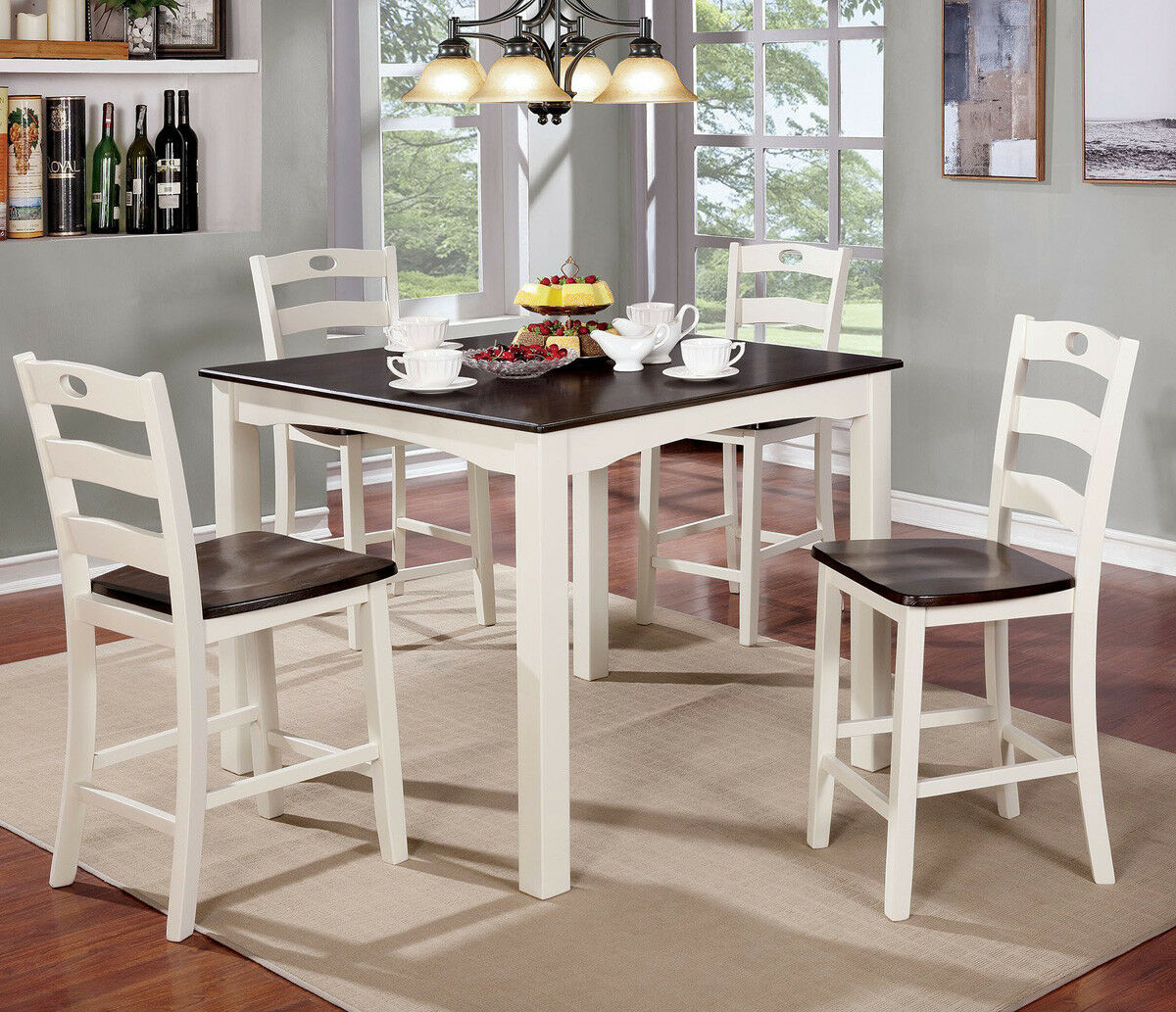 Casual 5 PC Two-Tone Counter Height Dining Table Set in Whit