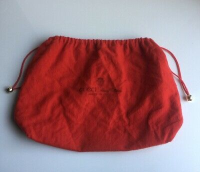 Authentic Vintage Red Cotton Gucci Anniversary Collection Drawstring Dust Bag