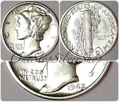 AU 1942-S 10C Mercury Dime - US 90% Silver Coin