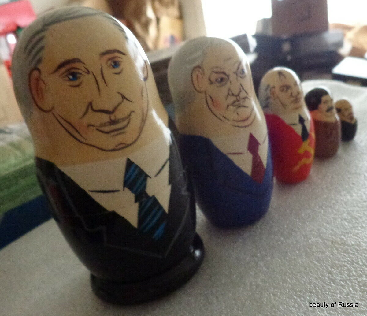 WOOD Hand Painted RUSSIAN SOVIET LEADERS NESTING DOLL 5 PCS  - $14.99