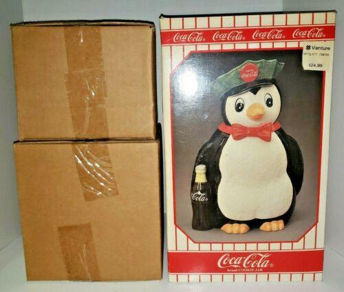 Vintage 1997 Coca-Cola Delivery Man Penguin Cookie Jar  in Original Box NOS