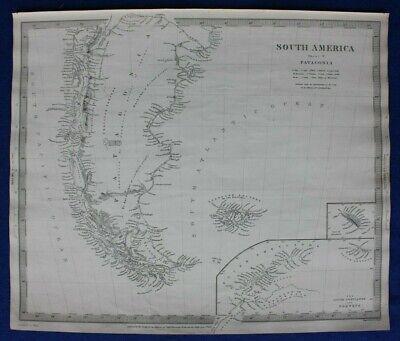 SOUTH AMERICA V, PATAGONIA, ARGENTINA, FALKLANDS, original antique map SDUK 1844