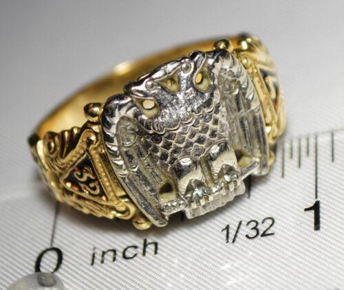 Vintage 10k Yellow Gold Enamel Scottish Rite 32nd Degree Masonic Ring NICE!!!