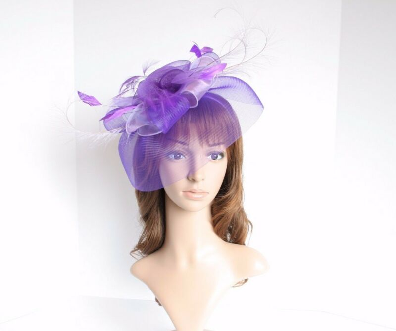 High Quality Kentucky Derby Wedding Polyester Feather Fascinator Purple/Lilac