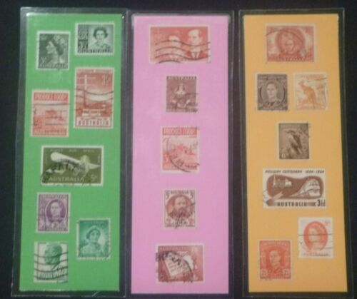 3 BOOKMARKS ~ AUSTRALIA Laminated POSTAGE STAMPS DOWN UNDER CONTINENT SYDNEY
