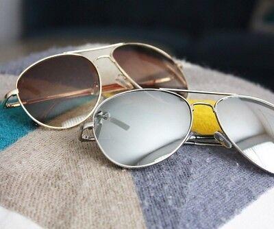 - 2 Pair Aviator Sunglasses Silver Mirror Brown Gold Lens Mens Vintage Frame Retro