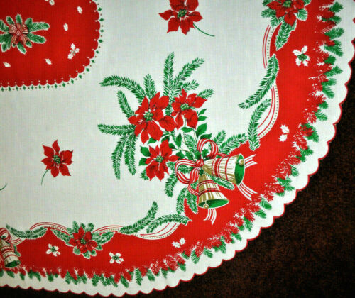"""82"""" Oval Vintage 1950s 60s XMAS TABLECLOTH ~Scalloped Edge Bells Red Poinsettia"""