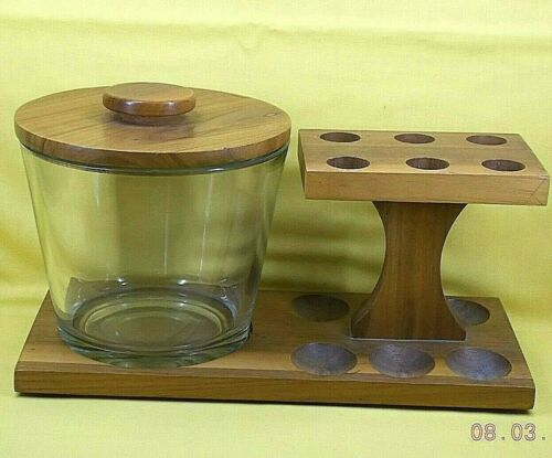 PIPE STAND * RACK with Clear Glass Humidor *** Holds 6 Pipes *** Unbranded