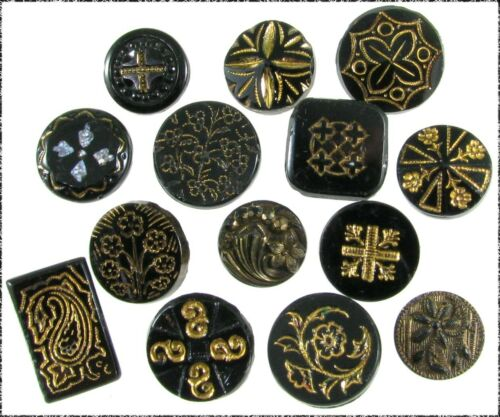 14 Antique Black Glass Buttons w/ Gold Luster Designs