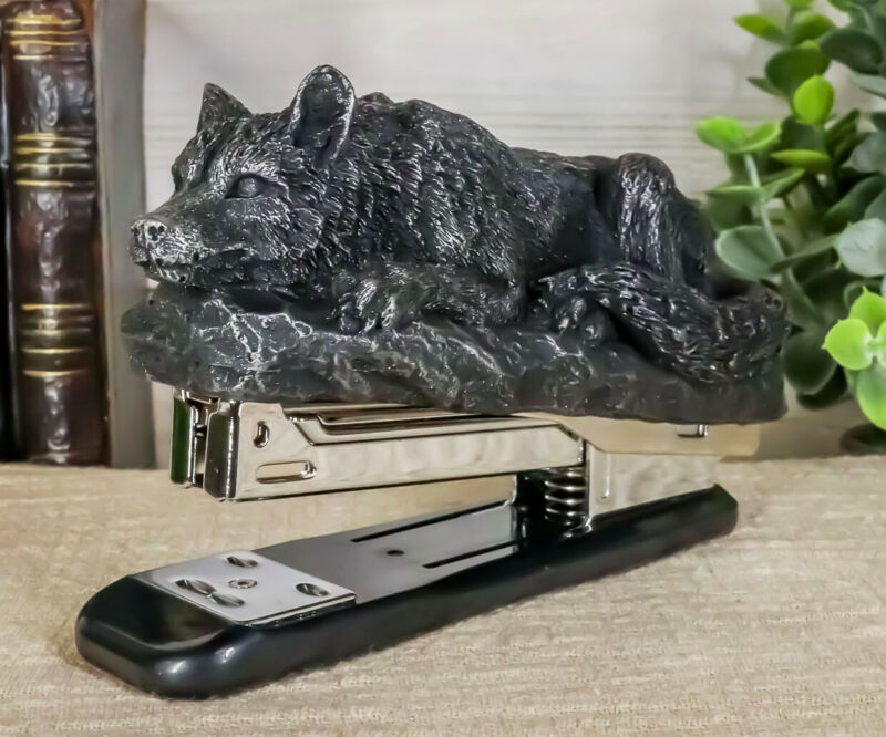 Gothic Resting Alpha Wolf Stapler Office Desktop Accessory Totem Wolf Spirit