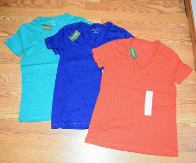 NWT EDDIE BAUER Short Sleeve Lace V-Neck Shirt Lot of 3 Blue Green Orange Small