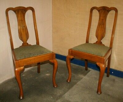 2 x Antique ~Queen Anne Dining Chairs ~Upholstered Seat Bases ~VGC