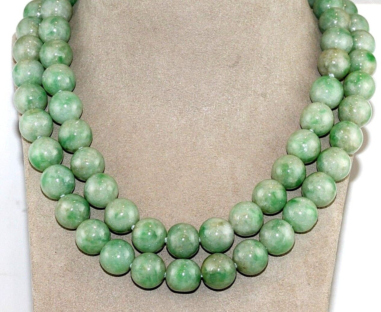 "260g Natural Round Green Jade Dangle Bead Necklace No Impregnation 30"" GIA"