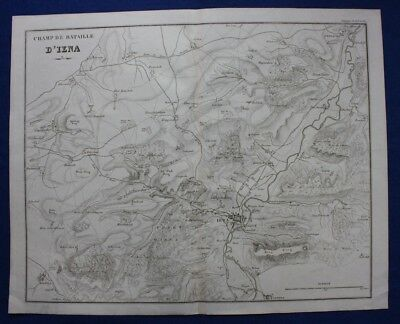 Original antique map GERMANY, BATTLE OF JENA, Napoleonic Wars, Tardieu c.1824
