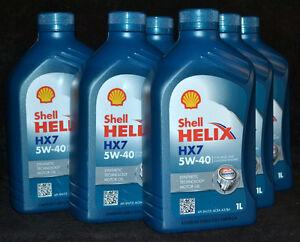 5x1 Liter Shell HELIX HX7 5W-40 Motoröl 5W40 MERCEDES VW OPEL RENAULT FIAT
