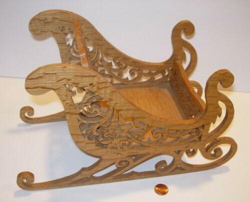 "handmade e.l. oppe Wood Sleigh Sled Holiday Christmas Decor Figure dish art 12"""
