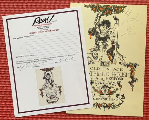 EPPERSON signed DAVID BOWIE autographed OLD PALACE HATFIELD HOUSE MENU 1983