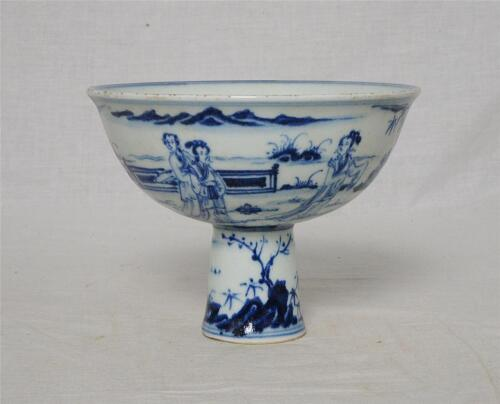 Chinese  Blue and White  Porcelaon  Stamp  Cup  With  Mark     M3126