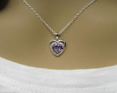 February Birthstone Heart - Amethyst CZ Open Heart Pendant 925 Sterling Silver February Birthstone Necklace