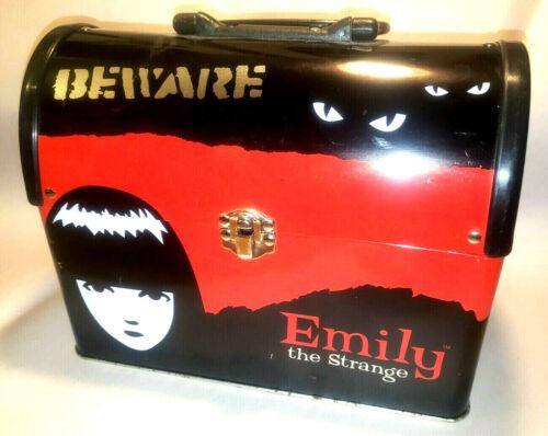 Emily the Strange ESP 2001 Beware Domed Tin Metal Lunch Box Top Handle RARE GUC!