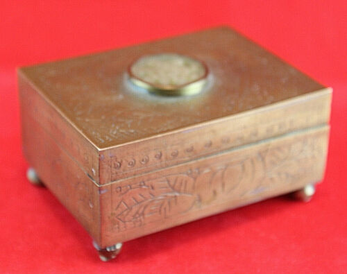 ANTIQUE CHINESE CHASED BRASS BOX & CARVED JADE Cigarette Stash Trinket Vintage