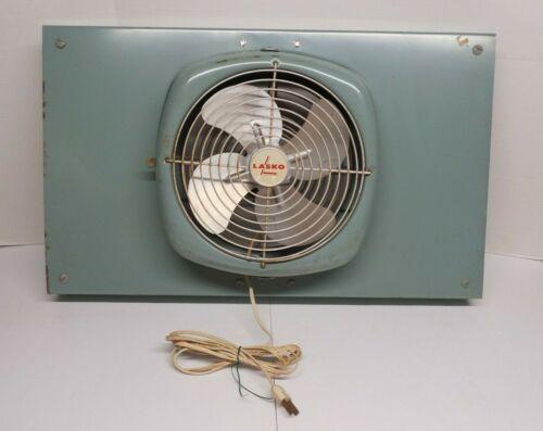 Vintage Lasko Window Fan Aqua Blue REVERSIBLE EXPANDABLE Model 74-10