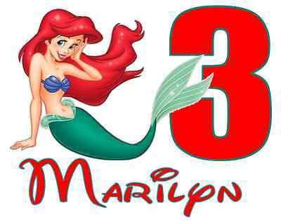 Personalized Ariel Little Mermaid Iron On Transfer 5x6