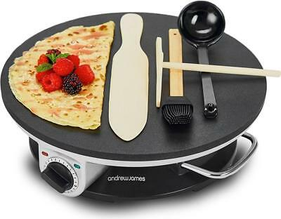 Andrew James Electric Crepe Maker / Pancake Maker Non Stick with Utensils 1200W