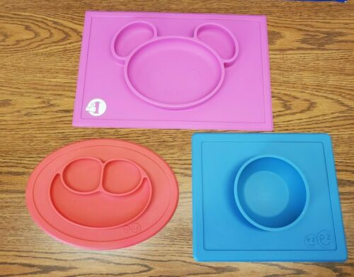 ezpz Happy Mat-RED & Happy Bowl-Blue & 1st Bear Bowl-Pink