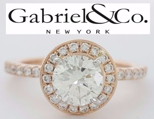 Gabriel 1.01 Ct 14k Rose Gold Round Cut Diamond Halo Engagement Ring Gia H / Si1