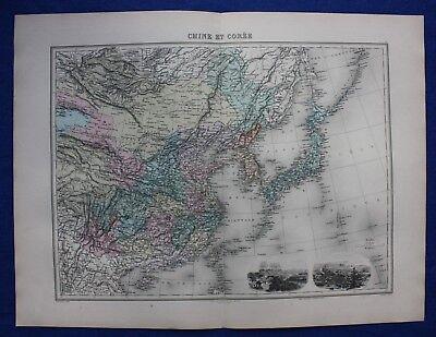 Original antique map CHINA, KOREA, JAPAN, 'CHINE ET COREE', Migeon 1891