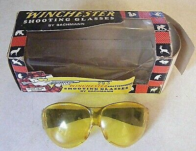 Vintage Bachman Made Winchester Yellow Shooting Safety Glasses - w/ Box - Used (Winchester Glasses)