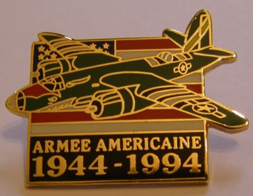 WW2 D DAY US ARMY AIR FORCE AIRCRAFT & FLAG 50th 44-94 vintage pin badge