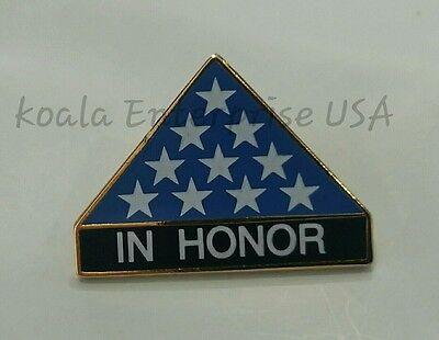 """IN HONOR FOLDED FLAG MILITARY 1""""LAPEL HAT  PIN"""
