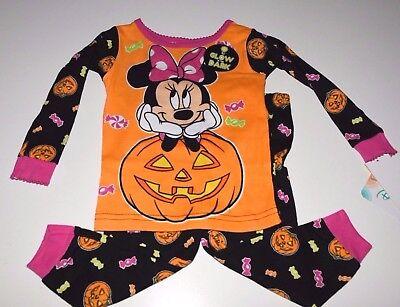 Disney Minnie Mouse Halloween baby girls 12 months pajamas glow in the dark