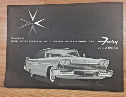 Vintage PLYMOUTH FURY automotive poster advertising dealer brochure 1958