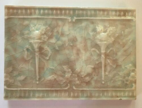 Antique Late 19th Century Decorative Fireplace Tile Pair Torches Flame Roses
