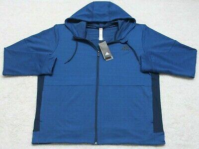 New XL Adidas Blue AP FZ Hoody Sweatshirt Top Polyester Spandex Mens Long Sleeve ()