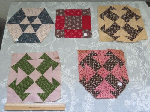 Lot Of 5 Cotton Antique 1870-1890 Hand Pieced Quilt Squares~Quilters