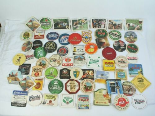 Lot of 63 Beer Wine Restaurant Bar Drink Collectible Coasters Foreign & Domestic