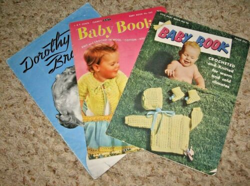 VINTAGE~LOT OF 3 BABY CROCHET & KNIT BOOKLETS~1940