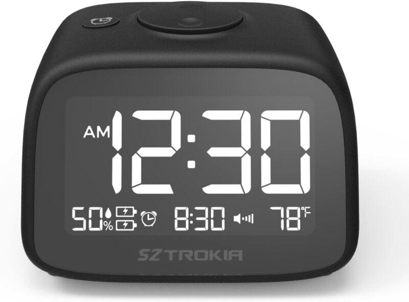 Sztrokia Alarm Clock, 2-Port USB Charging Digital Clock, Bedside Table Clock wit