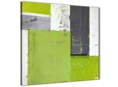 Lime Green Grey Abstract Painting Canvas Wall Art Print - 64cm Square - 1s339m